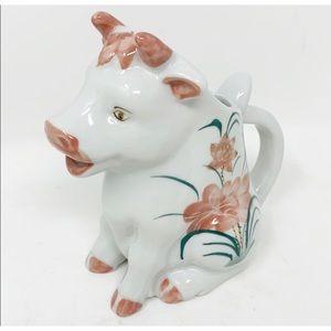 Other - Vtg porcelain white cow creamer pitcher floral